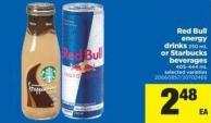 Red Bull Energy Drinks - 250 mL Or Starbucks Beverages - 405-444 mL