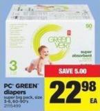 PC Green Diapers - Size 3-6 - 60-90's