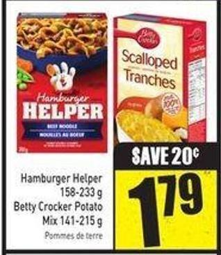 Hamburger Helper 158-233 g Betty Crocker Potato Mix 141-215 g