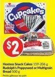 Hostess Snack Cakes 159-206 g Rudolph's Poppyseed or Multigrain Bread 500 g