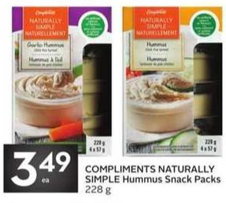 Compliments Naturally Simple Hummus Snack Packs