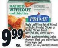Maple Leaf Prime Raised Without Antibiotics Breaded Chicken Or Stuffed Chicken Breast Frozen - 568 - 800 g