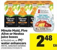 Minute Maid - Five Alive Or Nestea Juice Boxes 8/10x200 Ml Or PC Water Enhancers 48 Ml