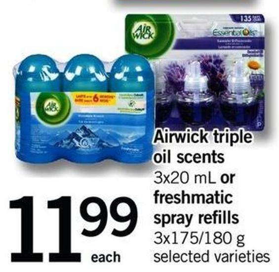 Airwick Triple Oil Scents - 3x20 Ml Or Freshmatic Spray Refills - 3x175/180 G