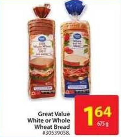 Great Value White or Whole Wheat Bread