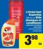 L'oréal Hair Expertise 385 mL or Kids Shampoo Or Conditioner