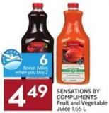 Sensations By Compliments Fruit and Vegetable Juice 1.65 L - 6 Air Miles Bonus Miles