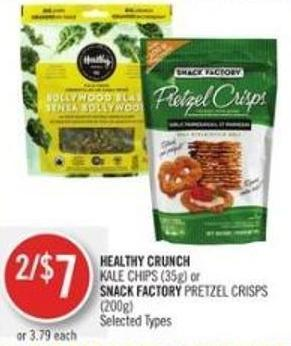 Healthy Crunch   Kale Chips (35g) or Snack Factory Pretzel Crisps (200g)