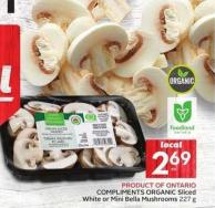 Compliments Organic Sliced White or Mini Bella Mushrooms