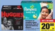 Pampers Or Huggies Super Big Pack - Pure Or Special Delivery Diapers - 42-120's