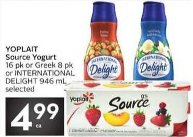 Yoplait Source Yogurt 16 Pk or Greek 8 Pk or International Delight 946 mL Selected