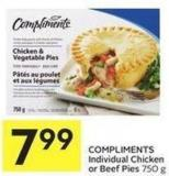 Compliments Individual Chicken or Beef Pies 750 g