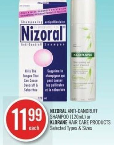 Nizoral Anti-dandruff Shampoo (120ml) or Klorane Hair Care Products