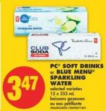 PC Soft Drinks or Blue Menu Sparkling Water - 12 X 355 mL