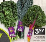 Organic Kale or Chards Product of USA Selected Varieties and Colours