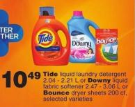 Tide Liquid Laundry Detergent - 2.04-2.21 L Or Downy Liquid Fabric Softener - 2.47-3.06 L Or Bounce Dryer Sheets - 200 Ct