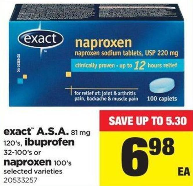 Exact A.s.a. 81 Mg 120's - Ibuprofen 32-100's Or Naproxen 100's