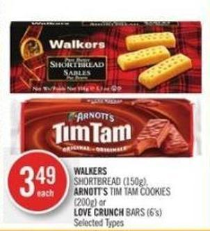 Walkers  Shortbread (150g) - Arnott's Tim Tam Cookies (200g) or Love Crunch Bars (6's)