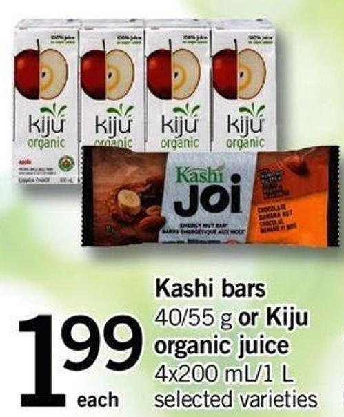 Kashi Bars - 40/55 G Or Kiju Organic Juice - 4x200 Ml/1 L