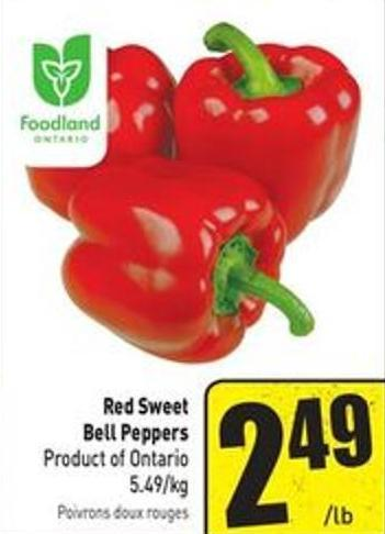 Red Sweet Bell Peppers Product of Ontario 5.49/kg