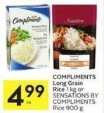 Compliments Long Grain Rice 1 Kg or Sensations By Compliments Rice 900 g