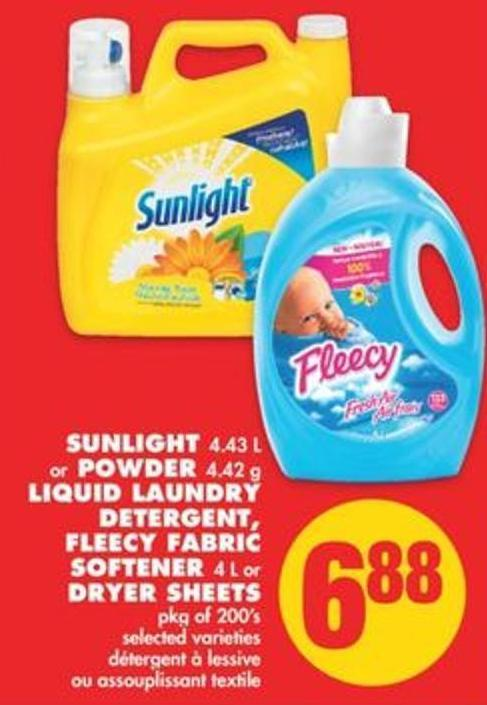 Sunlight - 4.43 L or Powder - 4.42 g Liquid Laundry Detergent - Fleecy Fabric Softener - 4 L or Dryer Sheets - Pkg of 200's