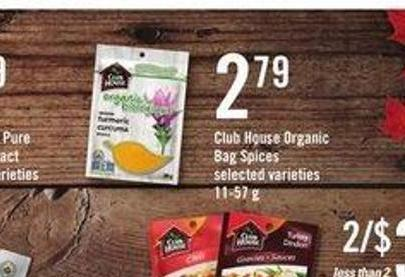 Club House Organic Bag Spices - 11-57 g
