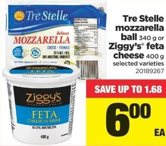 Tre Stelle Mozzarella Ball - 340 G Or Ziggy's Feta Cheese - 400 G