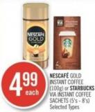 Nescafé Gold Instant Coffee (100g) or Starbucks Via Instant Coffee Sachets (5's - 8's)