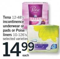 Tena 12-48's Incontinence Underwear Or Pads Or Poise Liners - 10-126's