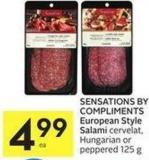 Sensations By Compliments European Style Salami Cervelat - Hungarian or Peppered 125 g