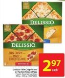 Delissio Thin Crispy Crust or Rustico Frozen Pizza