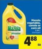 Mazola Vegetable - Canola Or Corn Oil - 2.84 L