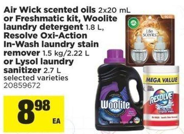 Air Wick Scented Oils - 2x20 Ml Or Freshmatic Kit - Woolite Laundry Detergent - 1.8 L Resolve Oxi-action In-wash Laundry Stain Remover - 1.5 Kg/2.22 L Or Lysol Laundry Sanitizer