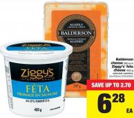Balderson Cheese - 280 g Or Ziggy's Feta Cheese - 400 g