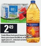 Fruite Wave Fruit Punch Boxes 6x300 Ml - Oasis Juice Boxes 8x200 Ml Or Rougemont Apple Juice 2 L