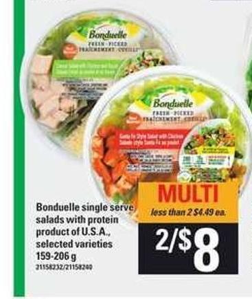 Bonduelle Single Serve Salads With Protein - 159-206 g