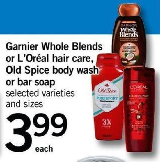 Garnier Whole Blends Or L'oréal Hair Care - Old Spice Body Wash Or Bar Soap