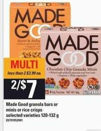 Made Good Granola Bars Or Minis Or Rice Crisps - 120-132 G