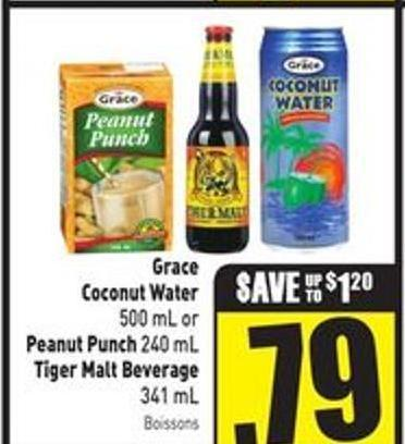 Grace Coconut Water 500 mL or Peanut Punch 240 mL Tiger Malt Beverage