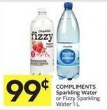 Compliments Sparkling Water or Fizzy Sparkling Water 1 L