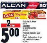Glad Plastic Wrap 60 M Or Alcan Foil 50'