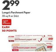 Longo's Parchment Paper 35 Sq Ft or 24ct