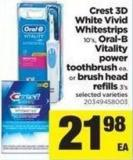 Crest 3D White Vivid Whitestrips - 10's - Oral-b Vitality Power Toothbrush Or Brush Head Refills - 3's