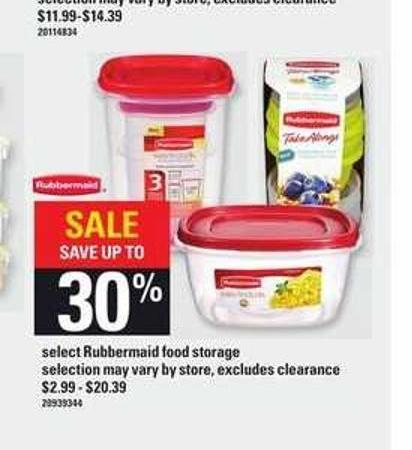 Select Rubbermaid Food Storage