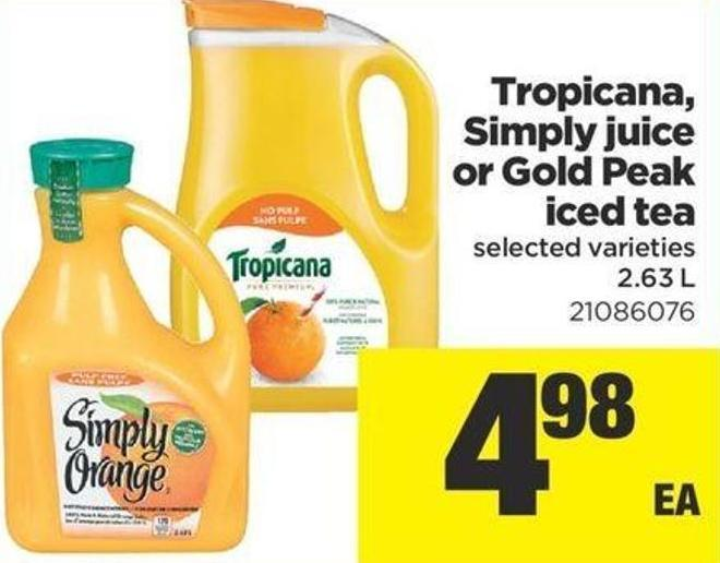 Tropicana - Simply Juice Or Gold Peak Iced Tea - 2.63 L