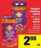 Patak's Cooking Sauce - 400 Ml Or Curry Paste - 284 Ml