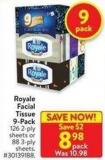 Royale Facial Tissue 9-pack