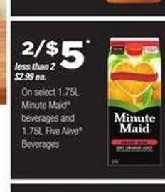 Select 1.75l Minute Maid Beverages And 1.75l Five Alive Beverages