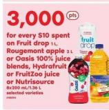 Fruit Drop 1 L - Rougemont Apple 2 L Or Oasis 100% Juice Blends - Hydrafruit Or Fruitzoo Juice Or Nutrisource 8x200 Ml/1.36 L